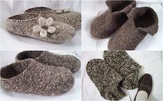 Ravelry: Felt Slippers for Adults pattern by Nita Brainard, free Felted Slippers Pattern, Knitted Slippers, Loom Knitting, Knitting Socks, Knitting Patterns, Crochet Motifs, Knit Or Crochet, Needle Felted, Nuno Felting