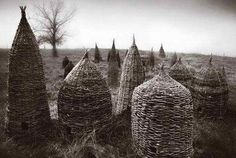 Hand woven bee skeps - Another pinner writes: I need to learn to do this! Our bees would be very happy here Bee Skep, Bee Hives, Bee Happy, Bees Knees, Romanesque, Queen Bees, Bee Keeping, Garden Design, Spanish Moss