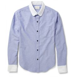 Band of Outsiders Contrast-Collar Woven-Cotton Oxford Shirt | MR PORTER