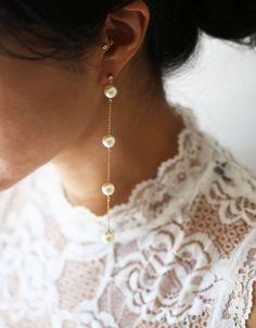 Lavender Earrings Grey Bridesmaids Gift Sterling Silver Earrings, Boho Bridal Beaded Dangle Earrings Clip On, Spring Wedding Jewelry Boho - Custom Jewelry Ideas Fancy Earrings, Wedding Earrings Drop, Chain Earrings, Bridal Necklace, Pearl Drop Earrings, Earrings Handmade, Dior Earrings, Pearl Necklaces, Bridal Jewelry Sets