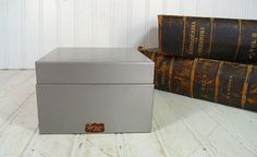 Vintage Grey Metal Medium Square File Box - Retro Weis 653 Index File System with Ivory Alphabetical Cards - BoHo Industrial Recipe Holder $17.00 by DivineOrders