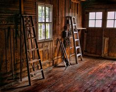 Old workshop with beautiful wood floors, walls and doors. The ladders were the last pieces to go. Years of hard work and memories. Old Wooden Ladders, Wood Ladder, Prop Maker, Lightning Rod, Future House, Workshop Ideas, Woodworking, Rustic, Hard Work