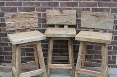 Staceys Custom Reclaimed Rustic and Recycled Oak Barn Wood Rectangle Top Bar Stool with Backs Pallet Bar Stools, Diy Bar Stools, Rustic Bar Stools, Bar Stools With Backs, Diy Stool, Home Bar Furniture, Rustic Furniture, Furniture Ideas, Reclaimed Wood Bars