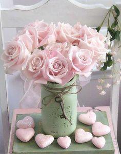 Shabby Chic~ vintage green Mason jar; pink roses; pink hearts;