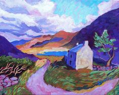 Original painting by Hannah Seng Twisting Through Connor Pass acrylic on canvas 8 x 10 2018 Scotland Travel, Ireland Travel, Solo Travel, Time Travel, Original Artwork, Original Paintings, September 2013, Sky, Watercolor