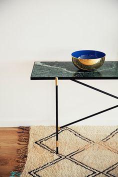 High Table BRASS on BLACK - Green Marble von HANDVÄRK