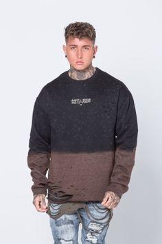e92eb31238 Sixth June - Bleach Washed Monster Sweatshirt - Black