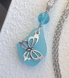 """Sea Glass Jewelry Necklace 24"""" Stainless Butterfly Charm Baby Blue Gift Box #Handmade #Pendant"""