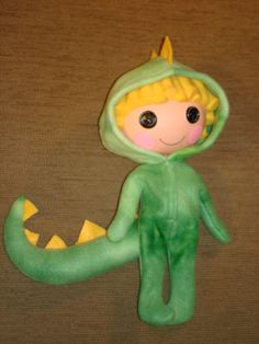 Lalaloopsy doll clothes GREEN DINOSAUR costume for boy or girl doll