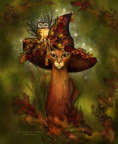 Chat dans un arbre chapeau de sorcière Fantaisie