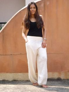 Aladdin Pants ...Womens pants.....Yoga Pants ..Unisex  Pants...Natural Cotton ( slight off white )