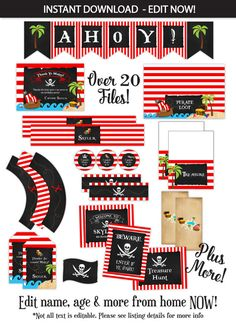 Pirate Party, Pirate Birthday Party Favors, Pirate Party Decorations - Pirate…