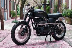 """There is a lot to like about the Jack Pine, a 2008 Triumph Scrambler custom from Hammarhead Industries, a US company on a mission to create """"simple yet modern motorcycles"""". Via Bike EXIF. Triumph Scrambler, Scrambler Custom, Custom Baggers, Triumph Motorcycles, Triumph Bonneville, Triumph Motorbikes, Custom Choppers, Motos Vintage, Vintage Bikes"""