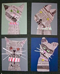 Newspaper cat collages