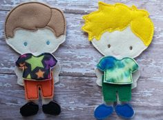 """Stars or Tie Dye shirt with pants Outfit from my """"Unpaper Felt Dolls Share"""" collection Listing for one outfit only fits girls too specify by cabincraftycreations on Etsy"""