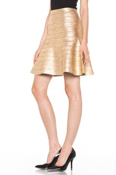 Holiday Hot List: HERVE LEGER  A Line Skirt in Gold