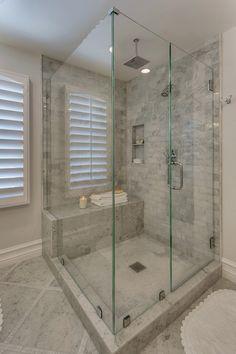 marble shower, subway pattern, rain head, seat in shower