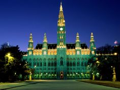 Another great shot of City Hall, Vienna, Austria.  It looks like it is made of emeralds, jade and gold.