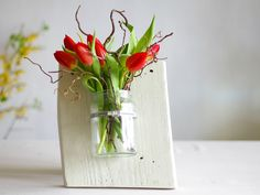 Holzbrett mit Vase zum Aufhängen, Blumenvase, Dekoration / flower vase with  wooden board, home decor made by Schlueter-Home-Design via DaWanda.com