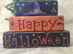 Primitive Country Witch Hat Happy Halloween 3 pc Shelf Sitter Wood Block Set #PrimitiveCountry