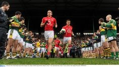 Cork footballers take the field v Kerry