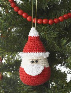 Santa Ornament - Free Crochet Pattern - (yarnspirations)