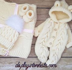 Baby Coming Home Outfit Set Spring Girl Boy Crochet Knitted, Bear Onesie Hooded Hodie Coveralls/Overalls/Romper/Jumpsuits, Baby shower Gift – Stricken sie Baby Kleidung Baby Boy Knitting, Baby Knitting Patterns, Baby Patterns, Crochet Patterns, Winter Baby Clothes, Knitted Baby Clothes, Cute Baby Clothes, Baby Bunny Costume, Baby Boy Outfits