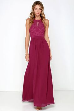 Bariano Optimum Opulence Berry Pink Lace Maxi Dress