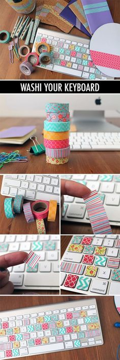Brighten up your keyboard with washi tape...looks so cute but I still hunt & peck so much. I wonder if you can see the letters through the tape??