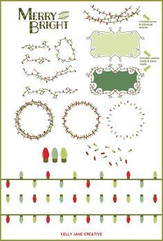 Christmas Lights Vector by Kelly Jane Creative on @creativemarket
