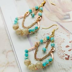 Make bohemian chandelier earrings with howlite, turquoise and plenty of textured metal!