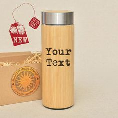 Original Bamboo Wood Thermos Flask with Personalized #plantsandedibles @EtsyMktgTool #thermos #personalizedgift #engravedwood #teathermos