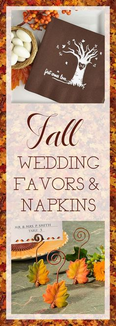 Add the colors and shapes of Autumn to your Fall wedding reception with personalized napkins, cups and wedding favors for reception table decorations and guest thank you gifts. See more fall wedding decorations at myweddingreceptio...