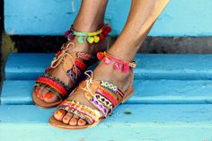 """Sandales """"Hula Hoop"""" (à la main sur commande)"""