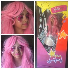 """""""@khialopez looking so adorable in her """"Jem and the Holograms"""" outfit for her birthday party! She's got the Jem doll glam going on and rockin' it from head…"""""""