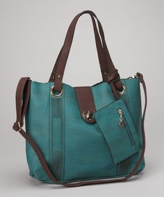 Take a look at this Teal & Brown Tote by Bali Belts Studio on #zulily today! $4999