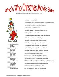Who's Who Christmas Movie Stars