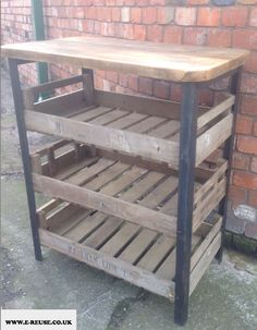 Recycled potato crates with fabricated steel frame and scaffold board top