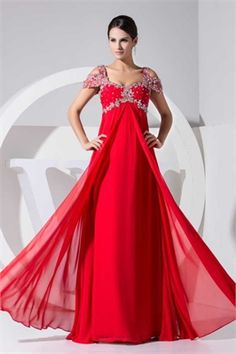 Sheath v-neck cap sleeves beaded chiffon red Evening Dresses PGPFD0058