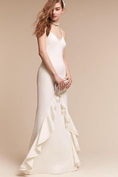 Beautiful, simple gown with ruffle detail  Ivory Astor Gown | BHLDN