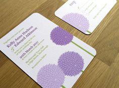 ALLIUM purple flower // wedding invitation // by twoforjoypaper, $3.25