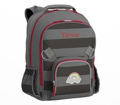 Fairfax Large Backpack Stripe Gray/Charcoal with Red Trim Rainbow