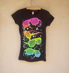 vintage 80s t shirt // black neon new wave punk by dahlilafound, $22.00