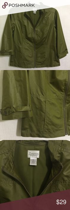 """Chicos Zernergy Womens Sz 1 Front Zip 3/4 Sleeves Chicos Zernergy Womens Sz 1 M 8 Front Zip Jacket 3/4 Sleeves Polyester  Great wardrobe basic piece for any time of the year!  Size 1 which equates to an M or Size 8 20"""" chest 24.5"""" long 17.5"""" sleeve length  100% Polyester and is fully lined with 100% polyester Machine Washable Chico's Jackets & Coats"""