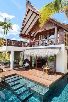 24 Ideas House Exterior Bungalow Backyards - All For Backyard Ideas Tropical Beach Houses, Dream Beach Houses, Tropical House Design, Small Beach Houses, Tropical Beaches, Tropical Paradise, Design Exterior, Beach Wood, Luxury Accommodation