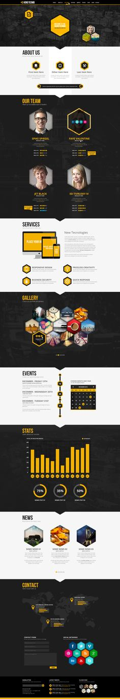 Honeycomb One Page PSD Template by odindesign