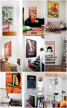 Some great decor ideas incorporating vintage posters from Re:Address! Get more inspirations from our current inventory of vintage, original posters at www.rossartgroup.com!