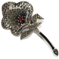 #2924 Marcasite Sterling Silver Garnet Flower Pin Exclusively at Lee Caplan Vintage Collection on RubyLane