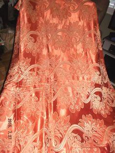 "Vtg Hollywood glam satin damask drape/fabric liquid satin copper orange~92x94"""