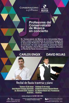 HOY! Recital de flauta traversa y piano a las 19:30 horas en Manuel Montt. No faltes! #concierto #cultura #conservatorio #umayor
